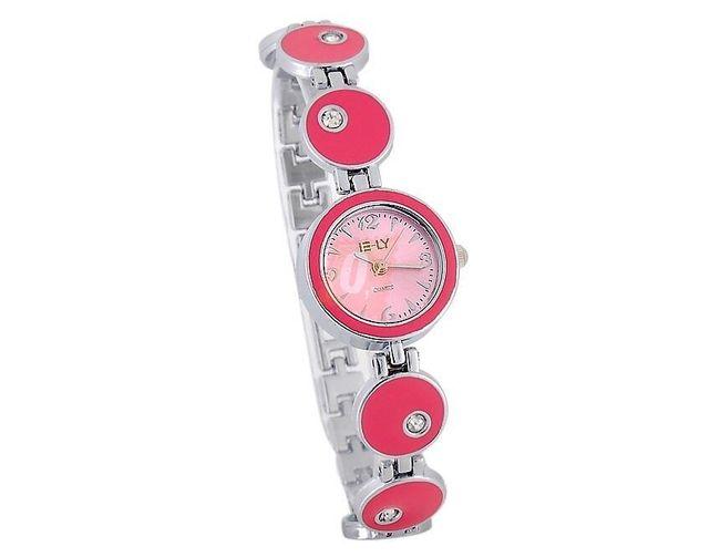 Dámské hodinky zdobené kamínky - tmavě růžové 1