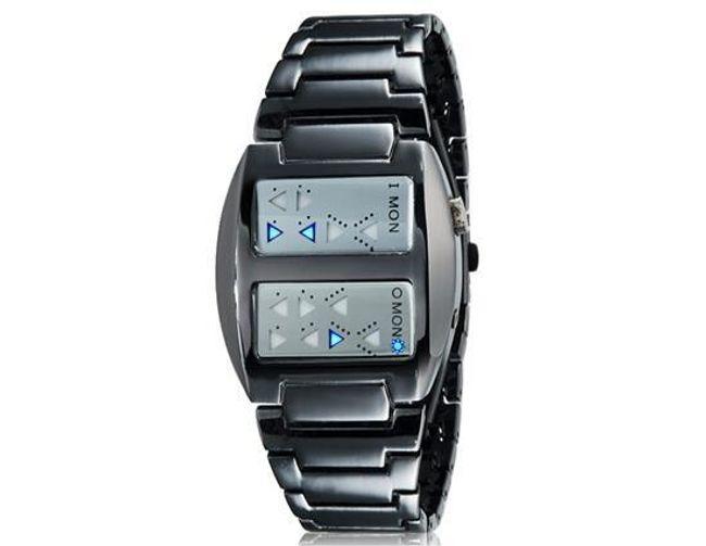 Męski LED zegarek z nietradycyjnym pokazywaniem czasu 1