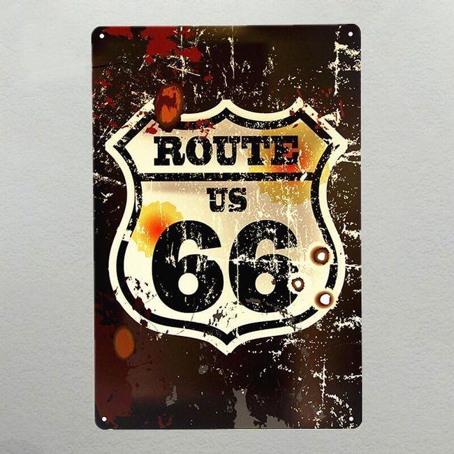 Afiș metalic decorativ - Route 66 1