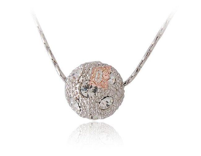 Náhrdelník s kuličkou - stříbrná barva 1