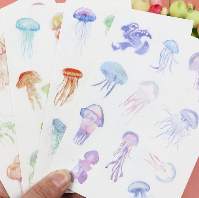 Samolepky s barevnými medúzkami 1