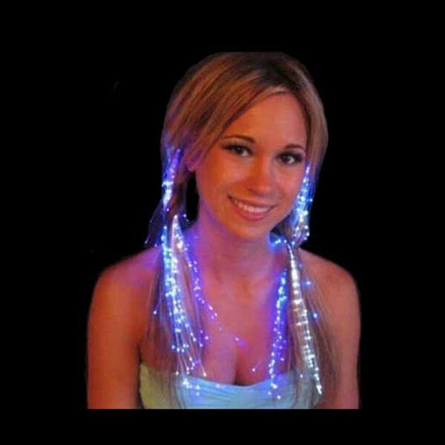 Svítící proužky do vlasů v barvě duhy 1