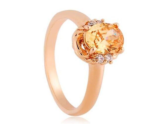 Prstýnek s krystalem v krásné zlatavé barvě 1