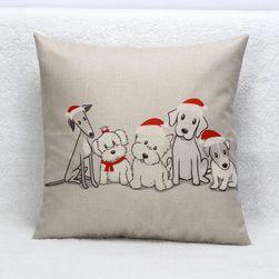 Karácsonyi párnahuzat kutyákkal