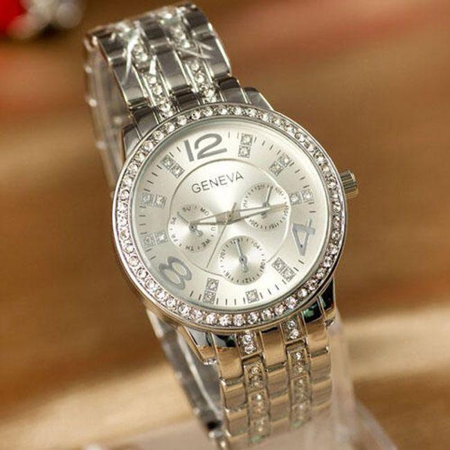 Luksusowy zegarek GENEVA z przezroczystymi kamyczkami 1
