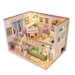 Casa de păpuși utilată - cameră iluminată