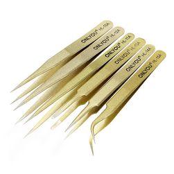 Antisztatikus csipesz készlet arany színben - 6 db
