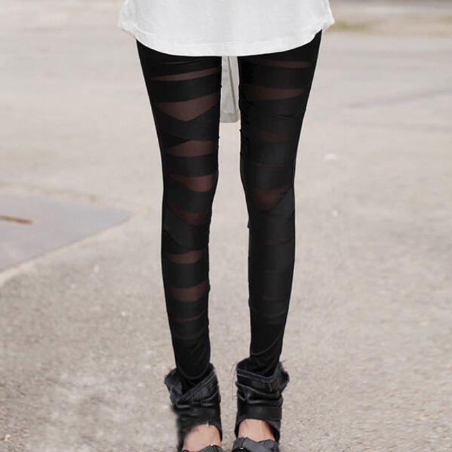 Damskie legginsy z prążkami - czarne 1