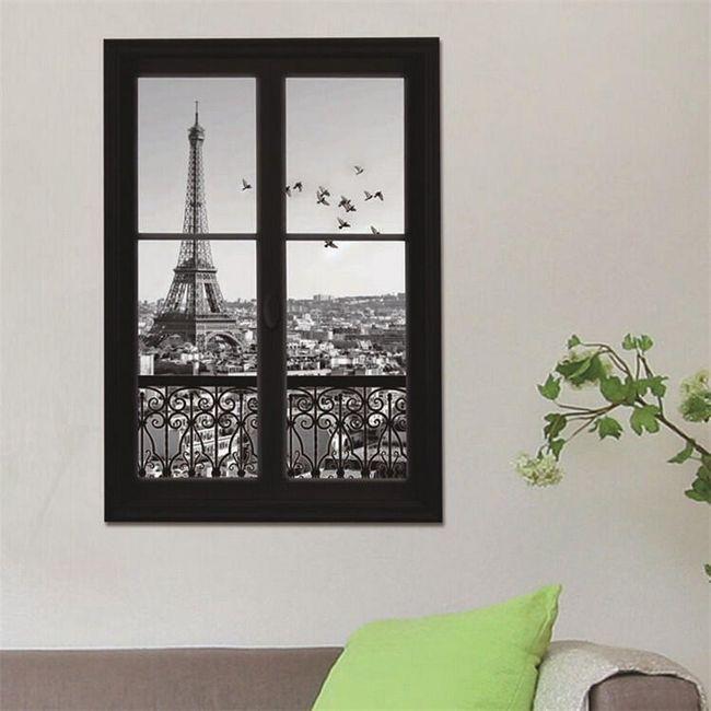 3D stenska nalepka - črno-belo okno s pogledom na Pariz 1