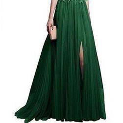 Společenské šaty s tříčtvrtečním rukávem - Zelená-velikost č. 2