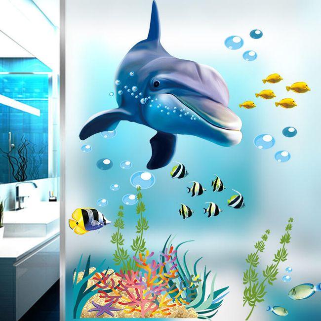 Samolepka na zeď - podmořský svět s delfínem 1