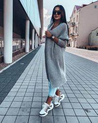 Dlouhý pletený cardigan - šedý