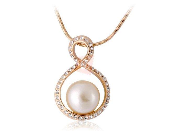 Náhrdelník s perlou a kamínky - zlatá barva 1