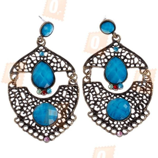 Náušnice - bronzová a modrá barva 1