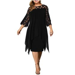 Женское платье больших размеров TF8490 Чёрный - Размер L