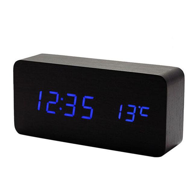 LED dřevěný budík - Modrá 1