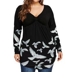 Dámské tričko pro plnoštíhlé s holubicemi - 6 velikostí