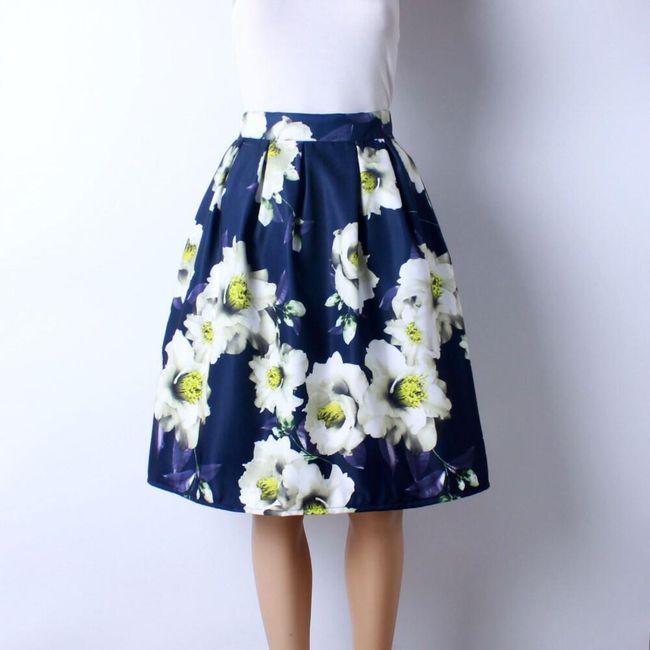 Skládaná delší sukně s různými vzory - 12 1