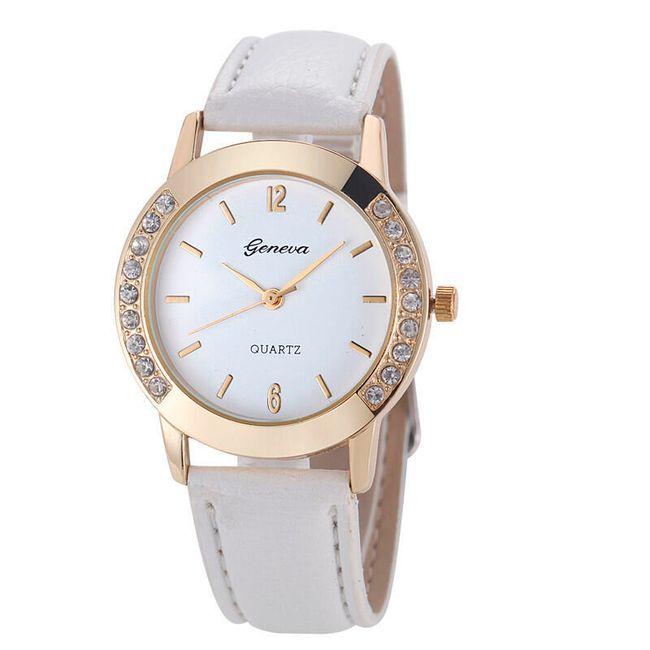 Damski zegarek delikatnie zdobiony na krawędziach - biały 1