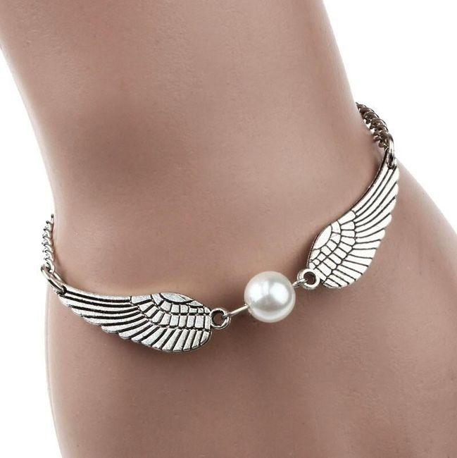 Brățară de damă cu aripi de înger și perlă sintetică 1