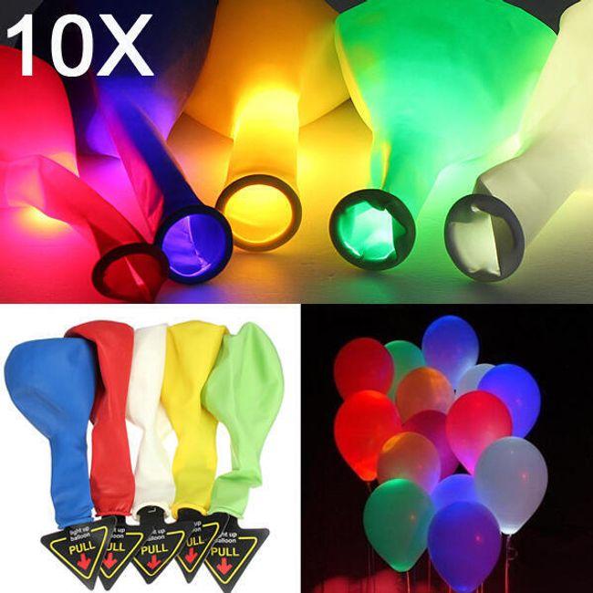 Sada 10 barevných svítících balónků 1