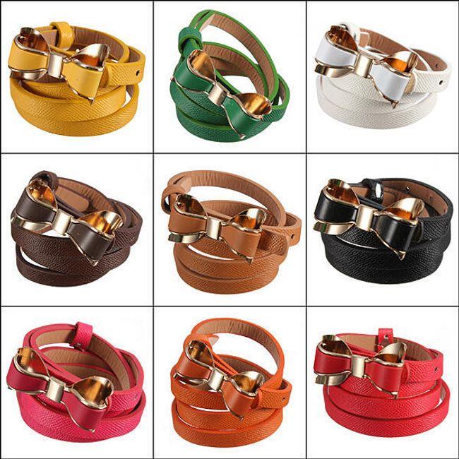 Dámský koženkový pásek s mašličkou - na výběr z 9 barev 1