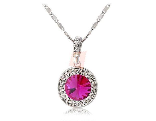 Náhrdelník s růžovým kamenem - stříbrná barva 1