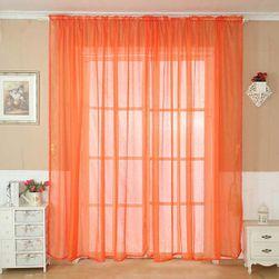 Tylový závěs v oranžové barvě