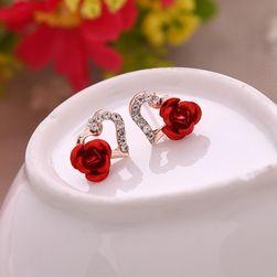 Kolczyki w kształcie serduszek z różą - 3 kolory