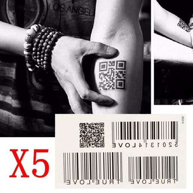 Переводная татуировка- Штрих-код и QR код 1