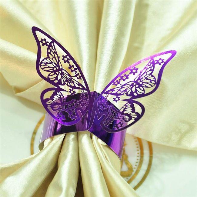 60 kusů kroužků na ubrousky s motýlky - 8 barev 1