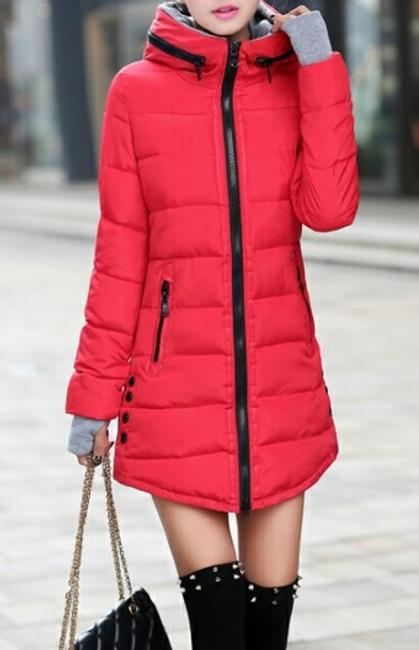 Prošívaná zimní bunda Pia - Červená - velikost č. XL 1