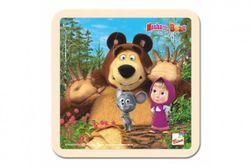 """Skladačka Puzzle drevo Máša a Medveď s myškou 4ks 15x15cm 12m + """" RM_82016119"""