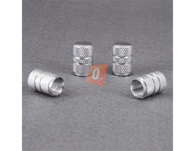 Ozdobné čepičky ventilků 4ks - bílostříbrné 1