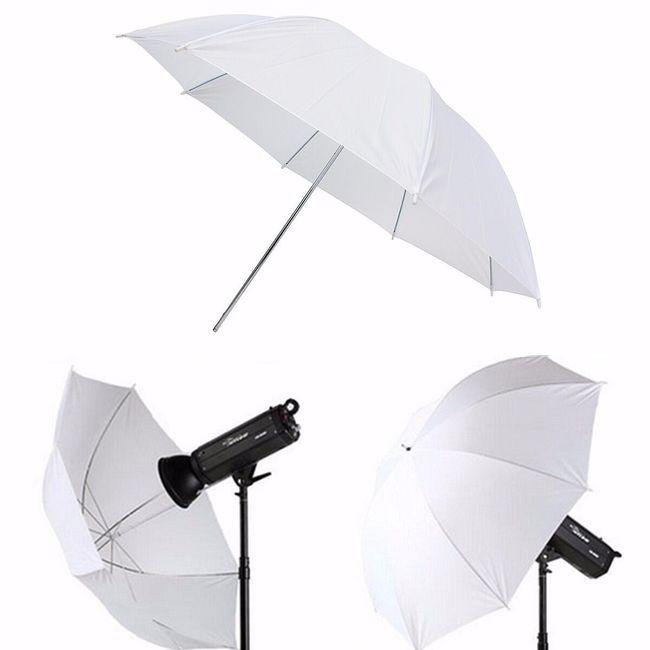 Bílý studiový deštník pro fotografy - průměr 110 cm 1