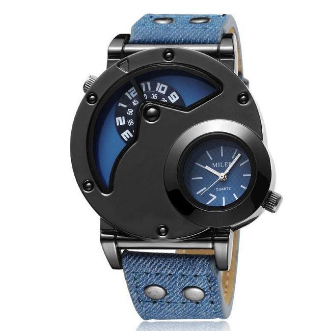Pánské hodinky s džínovým náramkem 1