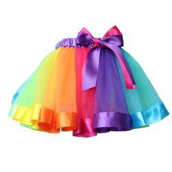 Suknja u bojama duge sa mašnom