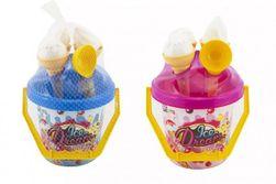Sada na piesok plast vedierko + formičky zmrzlina 2 farby v sieťke 18x28x17cm 12m + RM_00880106