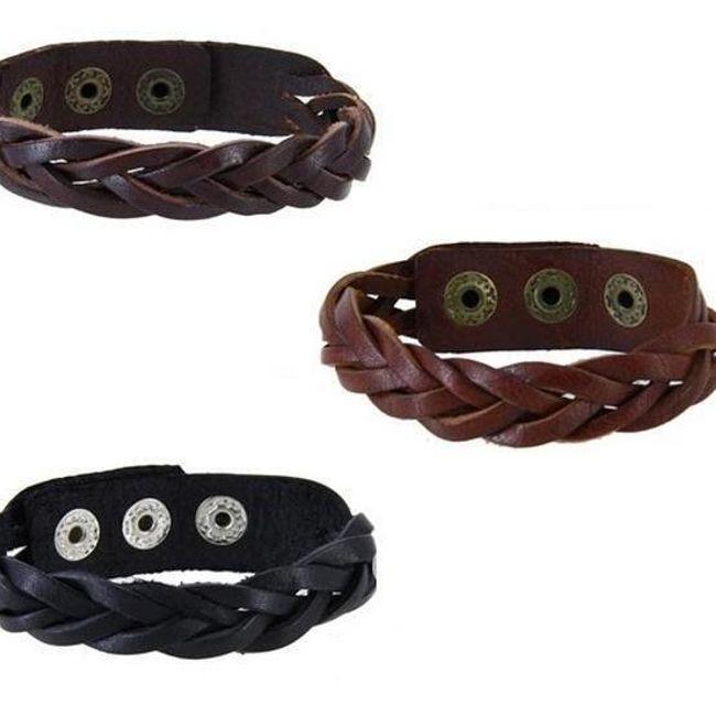 Kožený pletený náramek - na výběr ze 3 barev 1