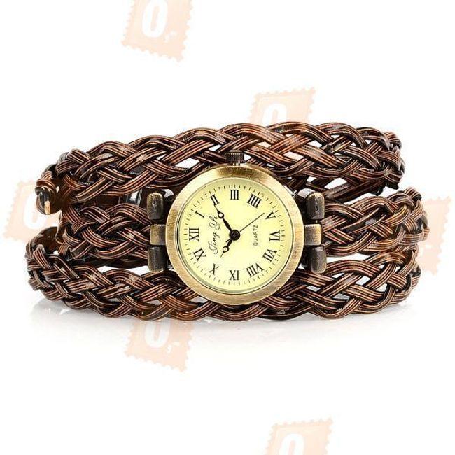 Retro hodinky s proplétaným páskem - hnědé 1