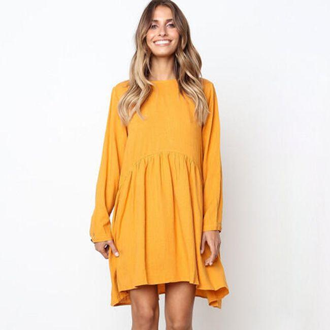 Krásné podzimní šaty volného střihu - 3 barvy 1