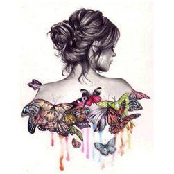 DIY kép strasszok - lány pillangókkal