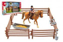 """Kôň + panáčik džokej plast s ohradou s doplnkami v krabici 33x19x5,5cm """" RM_00850389"""