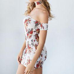 Květované šaty bez ramínek