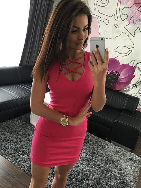 Облегающее платье-мини с вырезом- 5 цветов 1