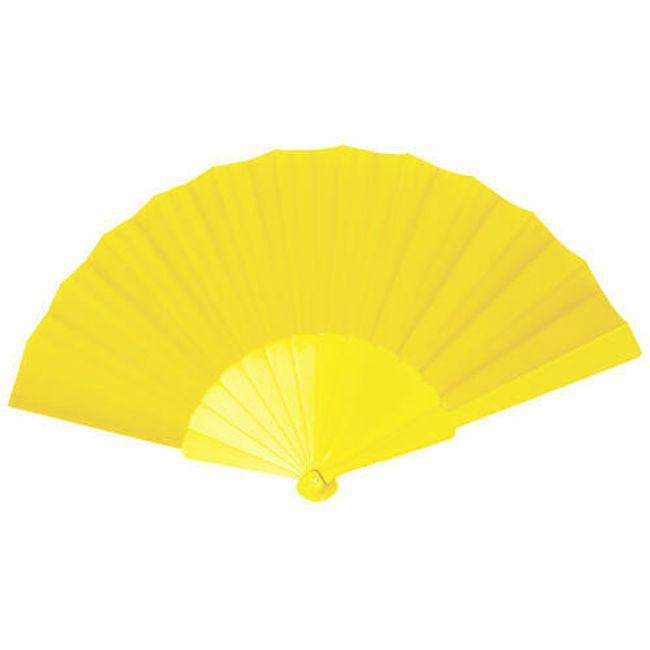 Wachlarz z tkaniny z plastikową rączką - żółty 1
