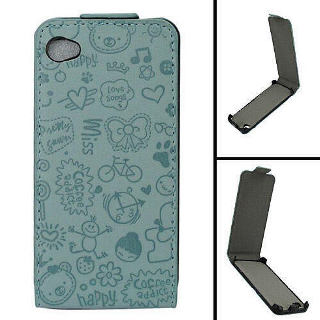 Koženkové designové ochranné pouzdro na iPhone 4 a 4S - modrý leisure time 1