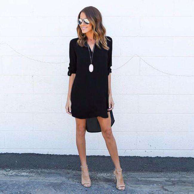 Minišaty v košilovém stylu - Černá - velikost č. 2 1