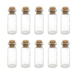 Komplet małych szklanych buteleczek z korkowym zamykaniem Lena