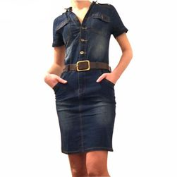 Džins haljina sa kaišem od veštačke kože